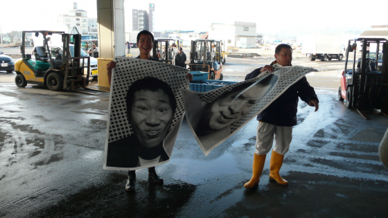 Two merchants from Kesennuma's fish market.。