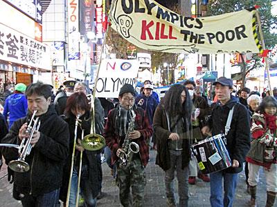 2013年12月15日(日)反五輪の会が主催したデモの模様。写真:mkimpo.comより許可を得て掲載